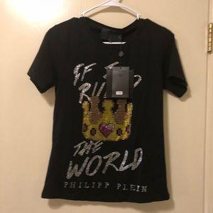 Phillip Plein woman's black Rhinestone T Shirt